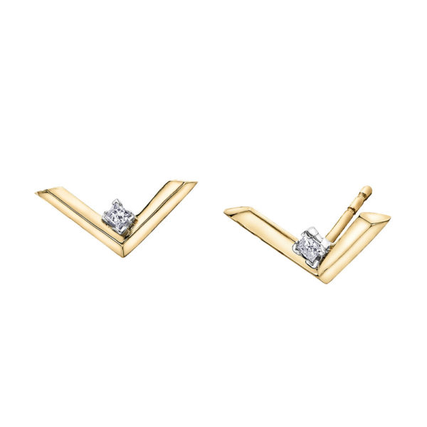 Canadian Diamond V Stud Earrings