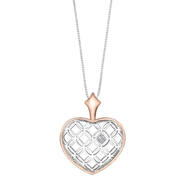 White & Rose Gold Vintage Heart Necklace