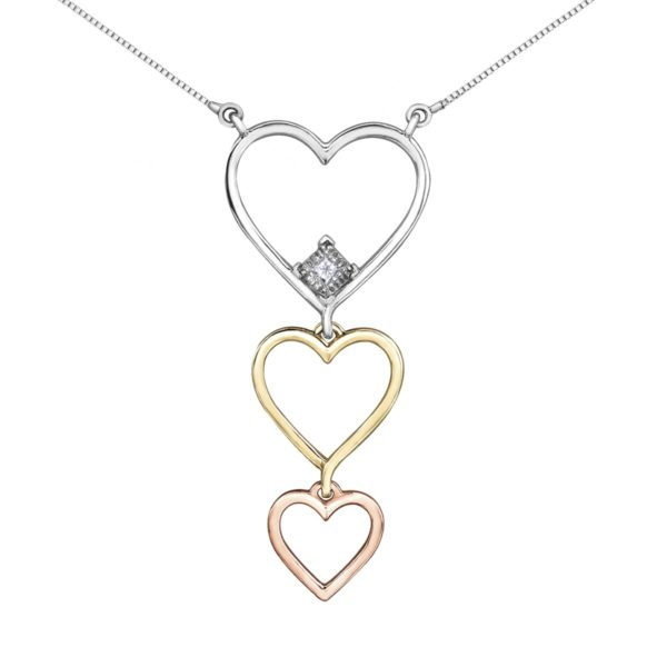 Tri Gold Dropping Heart Necklace