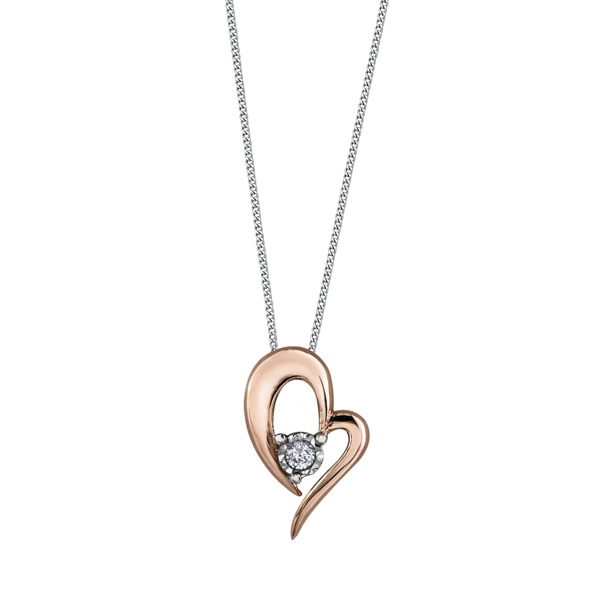 Rose Gold Open Heart Necklace Leduc Goldsmiths