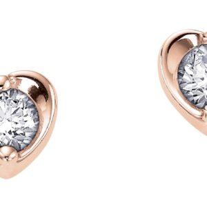 Canadian Diamond Rose Gold Diamond Heart Studs