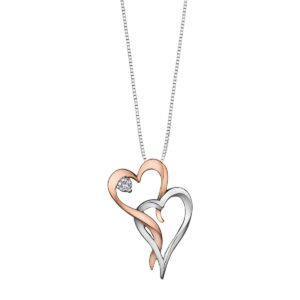 Canadian Diamond Two Tone Double Heart Necklace