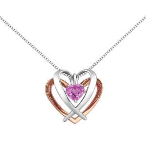 Created Pink Sapphire Rose Gold Heart