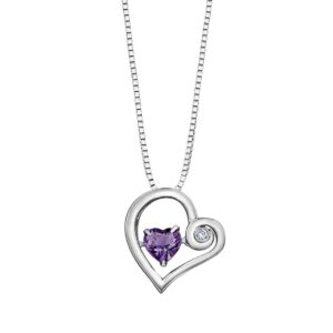 Amethyst and Silver Heart