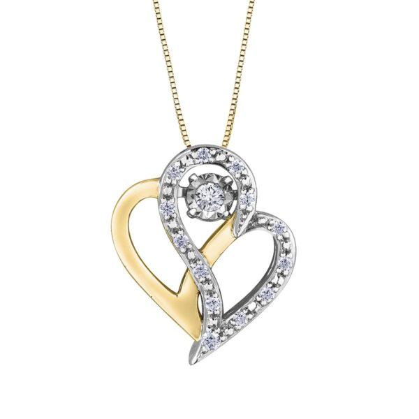 Yellow and White Pulse Diamond Heart