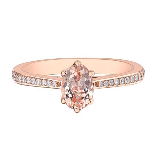 Rose Gold Oval Morganite Diamond Ring