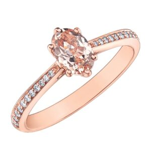 Rose Gold Oval Morganite Diamond Ring