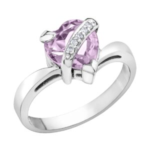 Heart Shaped Lilac Amethyst Ring
