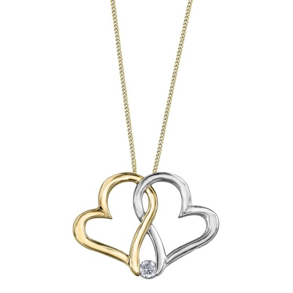 Two Tone Maple Leaf Diamond Heart Necklace.