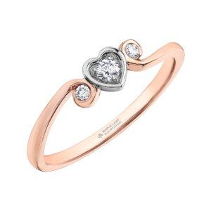 Maple Leaf Diamonds Rose Gold Heart Ring