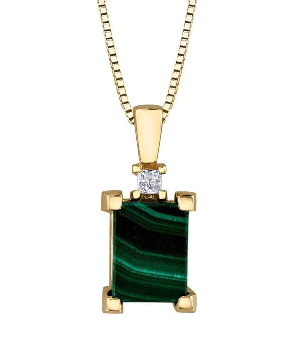 Maple Leaf Diamonds Malachite Pendant