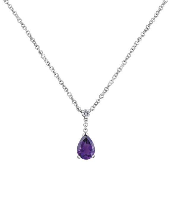 Maple Leaf Dimaonds Amethyst and Diamond Necklace