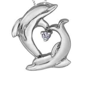 Diamond Dolphins Heart Pendant